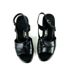 SAS Tripad Comfort 9.5WW Black Leather Sandals